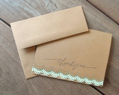 Spring Wedding Thank You Cards-Lace Thank You Cards-Rustic Wedding Thank You Cards-Mint Lace Card-by Lemon Drops & Lilacs on etsy.com