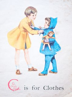 'C is for Clothes' | vintage children's book illustration