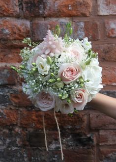 bridal bouquet - blush pink and ivory flowers - sweet avalanche rose, white o'hgara rose, blush astilbe, gypsophila and eucalyptus