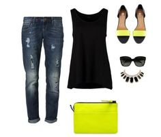 Black and yellow styling. Click on the picture to see the styling. #fashion #outfit #summer #designs
