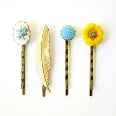 Bits and Bobs Bobby Pins In Blues by NestPrettyThingsShop on Etsy, $20.00