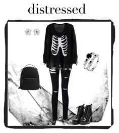 """Distressed denim goth."" by sophiepinkcheeks on Polyvore featuring Miss Selfridge, Oscar de la Renta and MANGO"