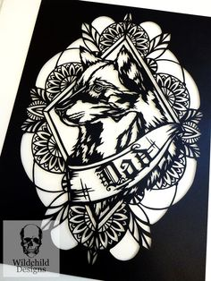 Father's Day Wolf & Banner, Paper Cutting Template, Commercial Use, Vinyl Template, Tattoo Style Cli Fairy Templates, Paper Cutting Templates, Wolf Clipart, Skull Template, Cute Animal Tattoos, Dad Tattoos, Tattoo Dad, Cut Out Art, Business Stationary