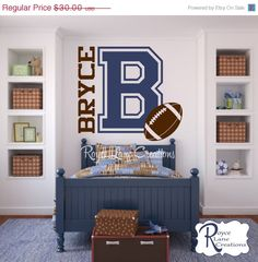 Holiday Sale Varsity Letter Decal with Personalized Name and Football for Teen Boys Bedroom Sports Wall Decal Football Wall Decal Boy Sports Bedroom, Kids Bedroom, Bedroom Decor, Bedroom Ideas, Kids Rooms, Bedroom Shelves, Music Bedroom, Boy Bedrooms, Light Bedroom