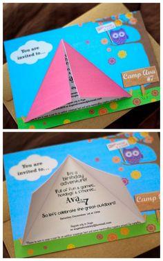 Camping Birthday Party Invitation 5x7 Printable File BOY or GIRL. $12.00, via Etsy.