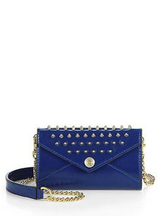 REBECCA MINKOFF Mini Studded Patent Leather Chain Wallet
