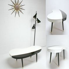 paint idea for the coffee table 50s Furniture, Black And White Coffee, Cool Shapes, Mid Century Design, Eames, Mid-century Modern, New Homes, Mad Men, Table