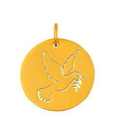 Medaille de bapteme en or, Médaille Colombe ajourée Collection Esquisses: Maison La Couronne