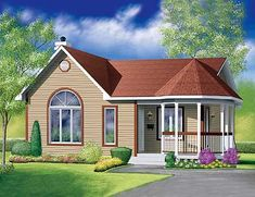 House plan number - a beautiful 2 bedroom, 1 bathroom home. Small Cottage Homes, Cottage House Plans, Country House Plans, My House Plans, Small House Plans, House Floor Plans, Victorian House Plans, Victorian Homes, Architectural Design House Plans