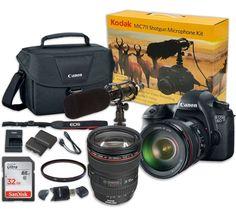 Canon EOS 6D 20.2 MP Full-Frame CMOS Digital SLR Camera Bundle with EF 24-105mm f/4 L IS USM Lens and SanDisk 32GB Ultra Class 10 SDHC + Kodak MIC-711 Shotgun Microphone + Video Creative Kit