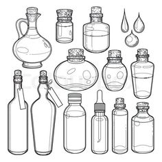 Stock vector of 'Graphic collection of glass bottles isolated on white background. Vector design elements Stock vector of 'Graphic collection of glass bottles isolated on white background. Drawing Sketches, Art Drawings, Tattoo Drawings, Bottle Drawing, Witch Art, Book Of Shadows, Glass Bottles, Plastic Bottles, Wine Glass