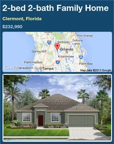 2-bed 2-bath Family Home in Clermont, Florida ►$232,990 #PropertyForSale #RealEstate #Florida http://florida-magic.com/properties/83462-family-home-for-sale-in-clermont-florida-with-2-bedroom-2-bathroom