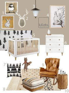 Love everything about this woodlands nursery themed bedroom!  A comfy leather chair, white and neutral tones... This is everything your child can grow with- smart investment pieces that will last!