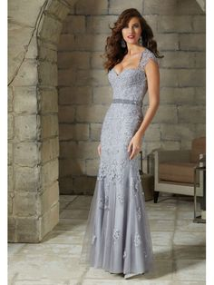 Elegant Tulle Queen Anne Neckline Sheath Mother of The Bride Dress with  Beaded Lace Appliques 1948bcc6c3f1