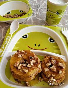 Τηγανίτες μήλου με βρώμη. Healthy Baby Food, Healthy Sweets, Healthy Recipes, Waffle Sandwich, Oreo Pops, Healthy Choices, Kids Meals, Pancakes, Deserts