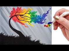 Rainbow Willow Tree Q Tip Acrylic Painting for Beginners tutorial 🌈🎨💜 - YouTube