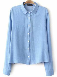 Blue Lapel Long Sleeve Polka Dot Blouse pictures