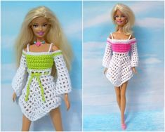 6 crochet patterns: fresh summer fashion for small dress-up dolls Crochet patterns: Fresh summer fashion 2018 for Barbie and her friends Always wanted to discover how to knit, nonetheles. Barbie Und Ken, Barbie Mode, Sewing Barbie Clothes, Crochet Doll Clothes, Crochet Toys, Crochet Dolls Free Patterns, Barbie Patterns, Crochet Tutorials, Crochet Ideas