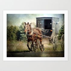 Horse and Buggy Art Print by Angelandspot - $14.00