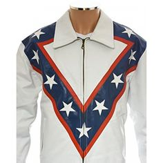 The Evel Knievel Tribute white leather jacket is made of genuine leather. Pure leather gives this jacket durability and glossy look. Leather is also said to be good for your health and body. Leather Jackets For Sale, Faux Leather Jackets, Distressed Leather Jacket, White Leather, Harley Davidson Merchandise, Red Design, Shirt Style, San Jose