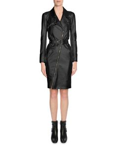 Asymmetric+Zip-Front+Leather+Trenchcoat,+Black+by+TOM+FORD+at+Bergdorf+Goodman.