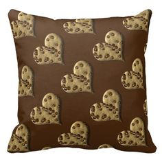 Brown Chocolate Chip Cookie Hearts Throw Pillow