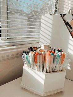 Stationary Organization, Desk Organization, Aesthetic Room Decor, Aesthetic Collage, Cool School Supplies, Study Room Decor, Peach Aesthetic, School Items, Cute Stationery