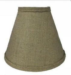 "Rustic /""Bulb Clip/"" Style BURLAP LAMP SHADE Table Desk Light  Cottage Cabin Decor"