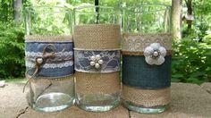 Dril de algodón y encaje conjunto de seis vasos y votivas