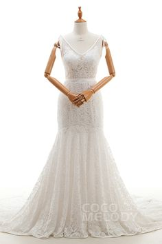 Glamour Trumpet-Mermaid V-Neck Natural Court Train Tulle and Lace Ivory Sleeveless Zipper Wedding Dresses with Appliques and Sashes LD2774 #weddingdresses #cocomelody