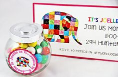 Elmer Elephant party invitation from an Elmer the Elephant Rainbow Birthday Party on Kara's Party Ideas | KarasPartyIdeas.com (11)