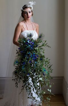 peacock art deco bouquet - Google Search