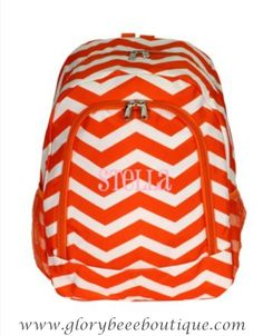 Monogrammed Chevron Backpacks by GloryBeeBoutique on Etsy,