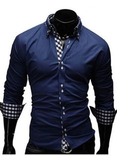 GET $50 NOW   Join RoseGal: Get YOUR $50 NOW!http://www.rosegal.com/mens-shirt/checked-splicing-design-turn-down-collar-657871.html?seid=6972388rg657871