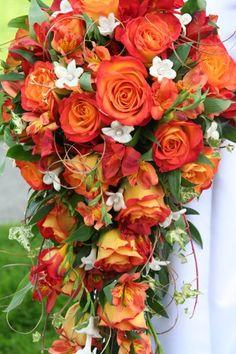 Fall cascade bouquet