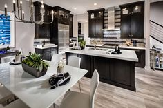 Gallery of luxury kitchens with dark cabinets. These pictures of dark kitchen cabinets will share ways to use shades of brown, grey & black in your designs. Dark Wood Kitchens, Dark Kitchen Cabinets, Kitchen Wood, Glass Kitchen, Narrow Kitchen, Kitchen White, Country Kitchen, Diy Kitchen, Luxury Kitchens