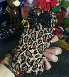 New Bling Sparkles Cheetah Print Colorized Gems Crystals Rhinestones Diamonds Gemstones Fashion Lovely Bow Hard Cover Case for Mobile Phones