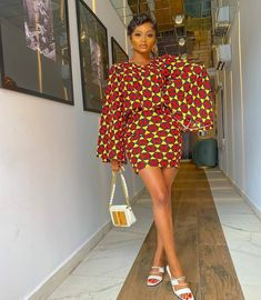 Bell Sleeve On Short Gown Ankara Short Gown, Ankara Skirt And Blouse, Ankara Gown Styles, Ankara Gowns, African Print Fashion, African Fashion Dresses, Fashion Prints, Fashion Design, African Outfits