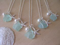 Sea Glass Necklaces with Starfish Beach Glass by BostonSeaglass, $25.00