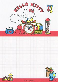 Sanrio Hello Kitty Memo (2013) | Flickr - Photo Sharing! Hello Kitty Iphone Wallpaper, Hello Kitty Backgrounds, Sanrio Wallpaper, Sanrio Hello Kitty, Hello Kitty My Melody, Cute Stationery, Stationery Paper, Stationary, Kawaii Background