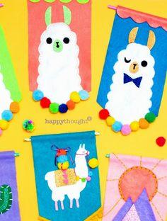 Llama Crafts: 18 fantastic DIY llama loving crafts to inspire your creativity! New Crafts, Book Crafts, Paper Crafts, Felt Banner, Diy Banner, Needle Felted, Felting, Sprinkles, Paint Paint