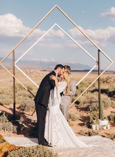 Weddingchella Desert Wedding // Geometric diamond design backdrop for this festival hipster inspired wedding