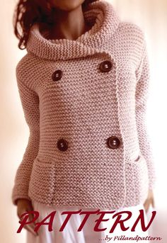 Knitting Pattern for Quick Easy Hooded Jacket - This long sleeved cardigan with hood is a quick knit in garter stitch and bulky yarn. Size: S- M- L- XL