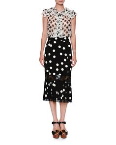 Dolce & Gabbana Ruffled Large-Dot Silk Blouse, White/Black