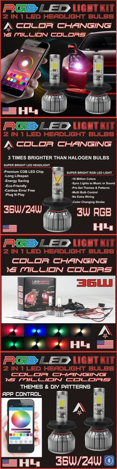 Motors Parts And Accessories: H4 2 In 1 Led Headlight Bulbs + Rgb Demon Eye Bluetooth Control For Car Truck -> BUY IT NOW ONLY: $159.95 on eBay!