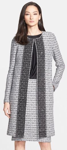 St. John Collection | Plaid Shimmer Knit Topper with Paillette Border | Spring 2015