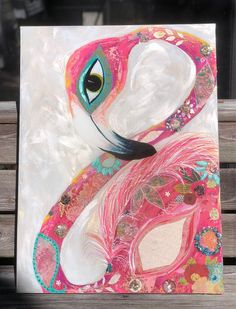 SOLD, happy to create something similar! Feeling festive vibes with this boho Chic flamingo! Pink, pink, pink.. with charming floral motif and chunky crushed gem. Just like a flower child and sure to bring a smile! 32x24 canvas glassy overlay