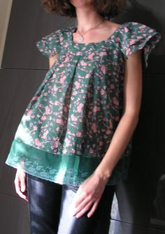 Womens blouse with short sleeves in green cotton/lace and japanese flowers.4313. €68.00, via Etsy.