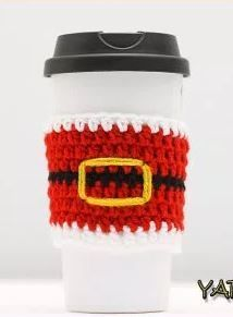 Santa Buckle Crochet Cup Cozy | Santa will put you on the nice list for this crochet coffee cozy, especially if you use it as a stocking stuffer for friends and family!