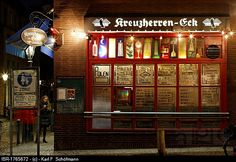 Kreuzherren-Eck pub, fully licenced, art bar of the 50s, stained-glass windows by Guenter Grote